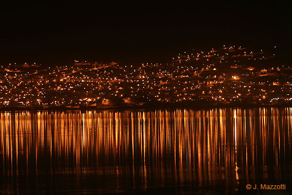 Lake Titicaca and Puno by night