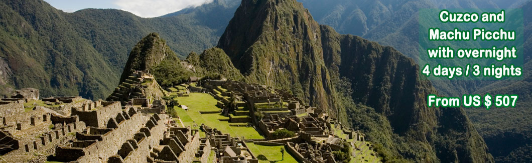 Tour Package Cusco, Sacred Valley and Machu Picchu with overnight (4 days / 3 nights)